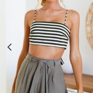 """Mura Boutique Tops - """"Good Vibes"""" Olive Crop Top Tie Back Mura Boutique"""